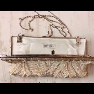 Clutch Designer Handbag: Moyna white beaded strap